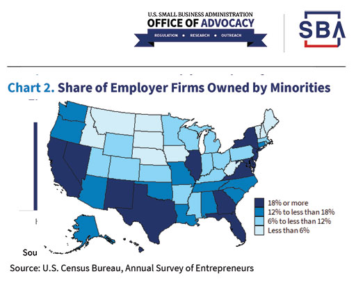 Share of Employer Firms Owned by Minorities Chart